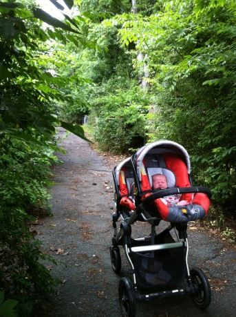 The gals enjoying an early days walk with their car seats snapped into the Baby Jogger.