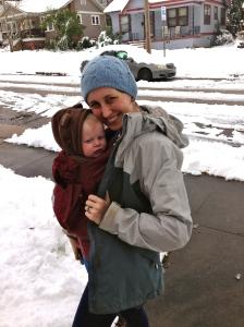 A very bundled Etta in the Ergo on a snowy day.