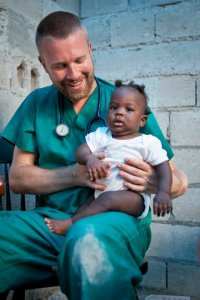 I don't have a lot of pictures of him doctoring, but here he is on a mission trip to Haiti a couple of years ago.