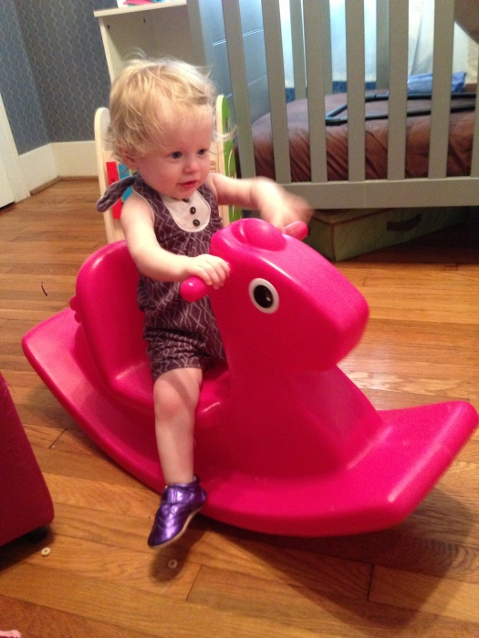A rare exception to my no-plastic rule: this Little Tykes rocking horse. It's perfect for little toddlers because it's low enough that they can get on and off themselves, and the seat has a back, which keeps them on it. And I think it's not bad looking.