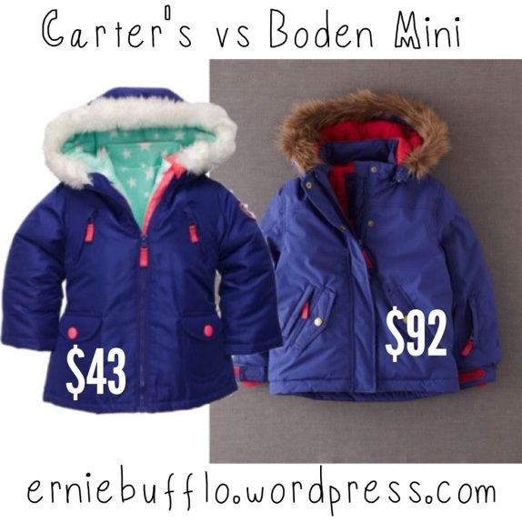 Winter coats, Carter's vs. Boden Mini, $43 vs $92