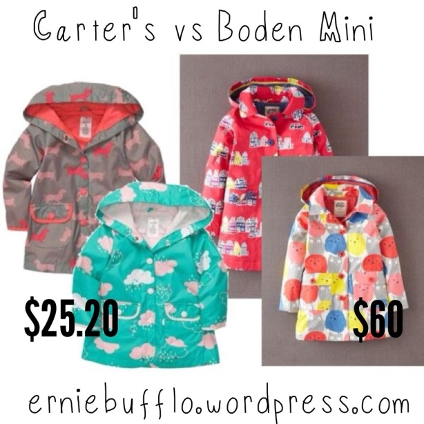 Cute raincoats. Carter's vs. Boden Mini, $25.50 vs $60.