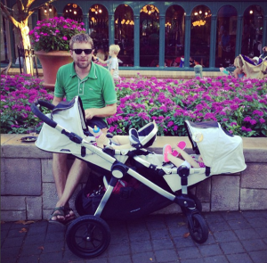 Our beloved Baby Jogger City Select in nap-mode at EPCOT.