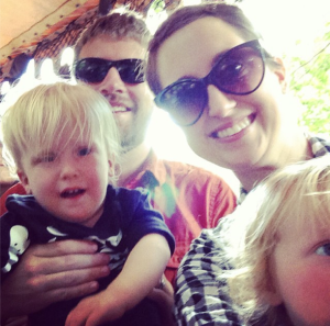 The whole family on The Jungle Cruise.