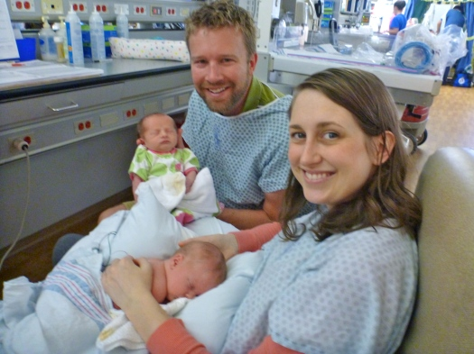 First photo as a family of four, 9 days later, in the NICU with Claire.