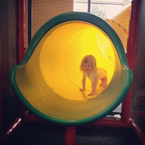 Indoor playplace fun on a rainy morning.