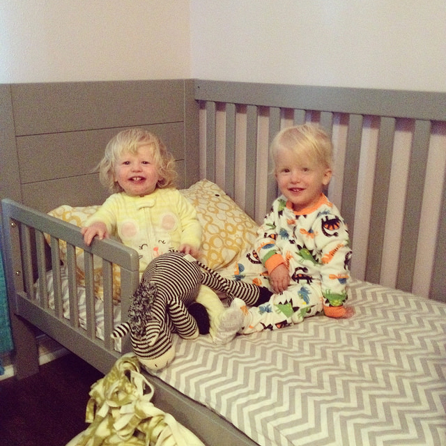 They were stoked when they moved into toddler beds at 18 months, but still mostly stuck to their own beds back then.