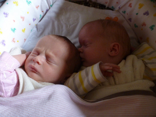 Once upon a time, the gals could share a basinet!