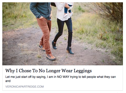 choosing not to wear leggings and yoga pants or pockets
