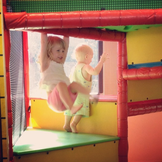 Hanging out at the play place with friends.