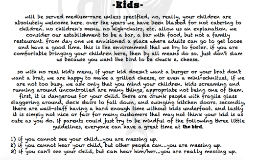 Kids in bars and restaurants, some guidelines